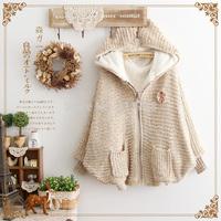 Mori girl knitted berber fleece loose batwing sleeve hooded thickening sweater outerwear casaco feminino  Women Fashion Jacket