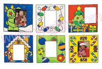 12PCS/LOT.Paint unfinished christmas photo frame sun catcher,Christmas tree ornament,Christmas crafts.6 design,13x7cm