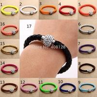 12Pcs/Lot Wholesale Hot PU Leather Bracelet & Disco Ball Crystal Shamballa Magnetic Clasp Bracelet Free Shipping