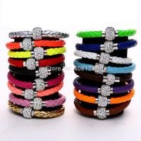 DHL Free Shipping 200pcs Wholesale Magnet Buckle Shamballa leather PU bracelets  Mixed colors