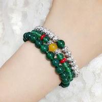 Top qualiy new fashion beautiful green agate stone bead lotus flowers women man bracelet lover jewelry hot sale free shipping