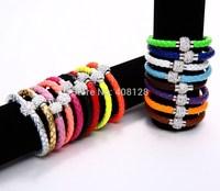 80pcs/ Lot Wholesale PU Punk Leather Wristband Cuff Fimo Magnetic Crystal Buckle Bracelet Bangle 20CM Mixed Colors