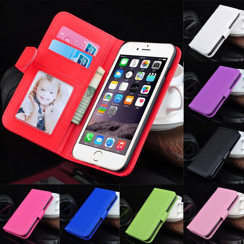 portefeuille pu étui en cuir pour iphone 6 sacs de téléphone portable cas avec cadre photo titulaire de la carte de retour stand sacs de protection