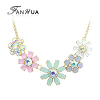 PINK Necklaces & Pendants Hot Sale Transparent Big Created Crystal Flower Vintage Choker Statement Necklace Fashion Jewelry