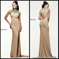 New Arrival 2014 Sexy High Neck Intricate Beaded Nude Chiffon Long Side Slit Long Dresses Evening