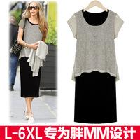 Plus Size 2014 Summer Europe Cotton long Faux two pieces asymmetrical Dress S M L XL XXL XXXL