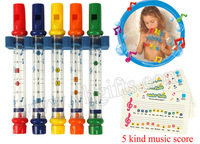 5PCS/1CARD/LOT.Water flute,Bath toys,Toy Musical Instrument,Sounding toys,Birthday gift,New baby toy,19cm,5 color,Freeshipping