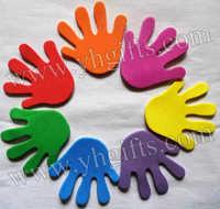 50PCS/LOT.Hand foam stickers,Wall sticker.Fridge stickers,Kindergarten ornament,Home decoration. Mixed color,6.5x6cm.Wholesale