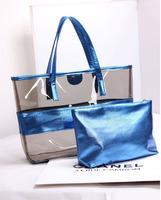 New fashion Women pvc summer beach handbags ladies candy color transparent messenger bag 2 bags a set Y0626