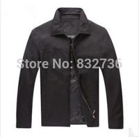 2014 Top  Business Jacket men formal Leisure Coats 100% Cotton solid Brand polo jackets black khaki Size M L XL XXL
