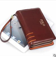 Free shipping 2014 dress men genuine leather day clutch bag long design men's double zipper business POLO brand wallet L1117
