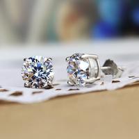 925 Sterling Silver Stud Earrings For Women Fashion Jewelry Free shipping 5mm AAA Cubic Zirconia Stud Earring