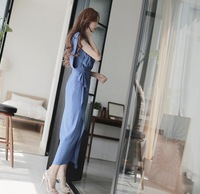 2014 New Summer Long Dress Sexy Side Split V-Neck Plus Size Ruffle Chiffon Dress Elegant Pleated Sleeveless Bohemia Maxi Dresses