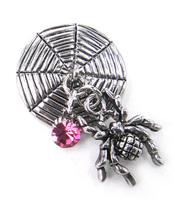 Free shipping cute spider with shiny fuchsia cz stone charm Fashion metal snap button charm