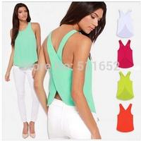 Fashion women's 2014 plus size summer shirt small vest sexy cross racerback chiffon spaghetti strap vest top free shipping