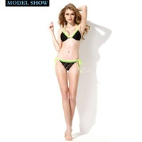 Colloyes 2014 New Sexy Black + Green Lace Triangle Top with Classic Cut Bottom Bikini Swimwear in Low Price
