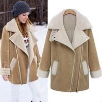 New Autumn Winter Women Long Thick Lamb Woolen Coat Cashmere Overcoats Ladies Suede Lapel Jacket 2 Color 8091