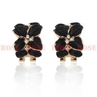 Wedding Jewelry Women Earrings  Gold Plate  Crystal Enamel Flower Earring Fashion Stud Earrings For Women ED057