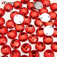 100pcs 12mm Red Acrylic Sew On Flatback Diamante Crystal Rhinestone Gems Free Shipping