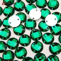 100pcs 12mm Green Acrylic Sew On Flatback Diamante Crystal Rhinestone Gems Free Shipping
