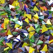 850PCS/450Gram/Lot,Transparent glass triangle,Mosaic art,Craft material,DIY lantern,Garden ornament,Home decoration.1x1.5cm(China (Mainland))