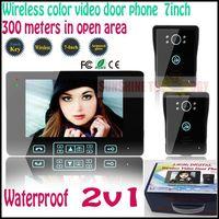 """7"""" TFT color video door phone wireless video intercom system 300meters in open area+Rainproof camera Wholesale & Retails 2v1"""