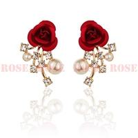 Wedding Jewelry Rhinestone Flower Earring Fashion Pearl Stud Earrings For Women Boutique ED056