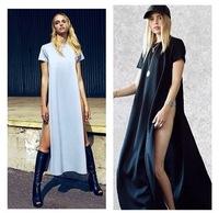 2014 Euramerican New Fashion Women Cotton Irregularity Maxi Shirt With Long Dress Side Split Dress Gypsy Gowns