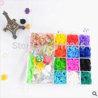 Free shipping DIY rainbow rubber band bracelet woven lattice frame set 22 Family Pack Mini 2400 Mini Set 20 grid boxes