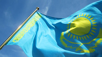 Free Shipping  NEW 100% 100D Polyester Fly  Printed 96x144 cm (5x3)ft Large Kazakhstan National Flag for Mixed