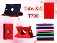 Free Shipping 360 degree rotating leather case stand protective cover shell For Samsung galaxy Tab S 8.4 inch T700