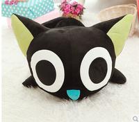 Freeshipping55cm ROM. Little black doll cat narrowing doll doll cartoon plush toys small black cat A birthday present