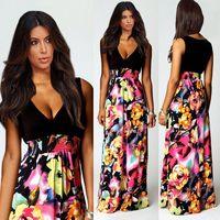 Summer dress 2014 European fashion brand dresses casual chiffon print dress sleeveless V-neck princess women summer dress
