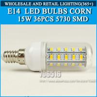 10PCS/lot High brightness led bulb lamp Lights Corn Bulb E14 15W 5730SMD 360 degrees Cold white/warm white AC220V 230V 240V