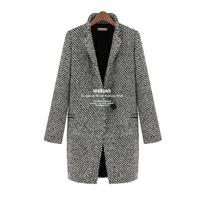 Women's winter jackets coat women woolen outerwear female winter plus velvet plus cotton wool thick overcoat suit houndstooth