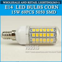 10PCS/lot High brightness led bulb lamp Lights Corn Bulb E14 15W 5050SMD 360 degrees Cold white/warm white AC220V 230V 240V