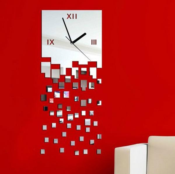Wholesale Home decoration wall clock modern design luxury mirror wall clock,3d crystal mirror wall watches michael wall clocks(China (Mainland))