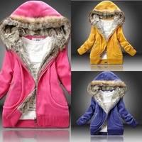 2014 New Women's Pure Cotton Thick Warm Hoodies Woman Winter Love Link Fur Hat Fur Collar Women Sweatershirt  E1448