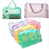 New 2014 Floral Print Transparent  cosmetic bags Waterproof Makeup Make up Cosmetic Bag Toiletry Bathing Pouch for girls women