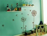 Dandelion designed PVC Wall Decal Stickers (Brown)free shipping
