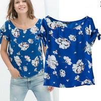 Women Chiffon Blouse Vintage Blue Flower Print  Lace Sleeve Ladies' Elegant Casual ZA Brand Designer Shirt Blusas Femininas 2014