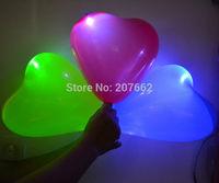 Free shipping 50pcs/lot 12inch light up heart balloon Latex Balloons LED Hellium Air  Balloons Wedding Light Up Decoration Party