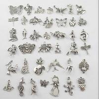 YBB Wholesale Metal Mixed Shape Antique Silver Pendants Zinc alloy Animals Tibetan Silver Charm Pendants Horse Butterfly F145