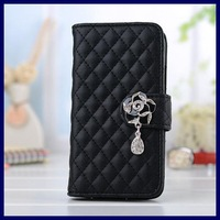 New 2014 Diamond Camellia Pendant Wallet case for samsung galaxy note 3 note3 N9000 leather stand cell phone bags cases