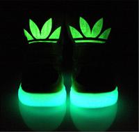 Spring 2014 new boys girls fashion high-top sneaker casual Board Shoes big boy shoes luminous