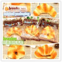 2014 new original Breadou package jumbo artificial 3 squishy charm horn bread scent soft hand rest mouse pad gift freeshipping