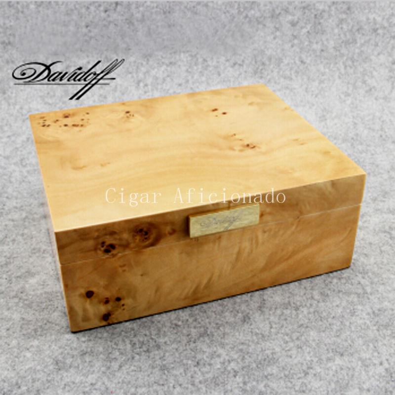 High-end Cigar Accessories Royal Style Burlywood Cedar Wood Cigars Humidor Best Storage Box W/ Gold Hygrometer Humidifier(China (Mainland))