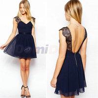 New 2014 Women Summer dress Clothing Celebrity Brand Fashion Work Wear Sexy Party dress Blue Lace Backless Chiffon Casual Dress