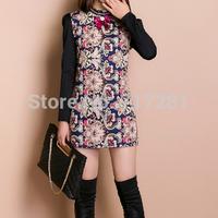 Hot Sale! New 2014 fashion style bow retro pattern stitching Slim was thin big yards long sleeve dress Free Shipping       q4572