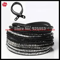 Crystal Leather Wrap Bracelets, Leather Bracelet With Adjustable Button, Crystal Leather Fashion Rhinestone Bracelet